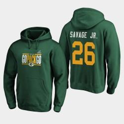 Männer Green Bay Packers Darnell Savage Jr. 2019 NFL Playoffs Bound Heimatstadt Checkdown PulloverHoodie - Grün