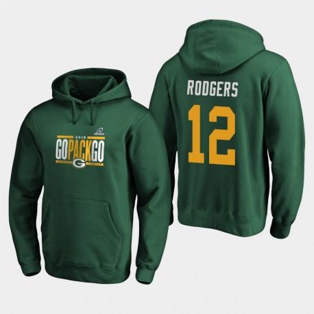 Männer Green Bay Packers Aaron Rodgers 2019 NFL Playoffs Bound Heimatstadt Checkdown PulloverHoodie - Grün