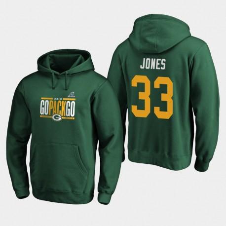 Männer Green Bay Packers Aaron Jones 2019 NFL-Playoff-Spiele Bound Heimatstadt Checkdown PulloverHoodie - Grün