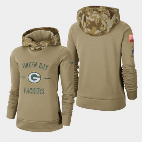Frauen Green Bay Packers Khaki 2019 Salute to Service-Therma PulloverHoodie