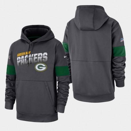 Männer Green Bay Packers 100. Saison Sideline-Team-Logo PulloverHoodie - Anthrazit