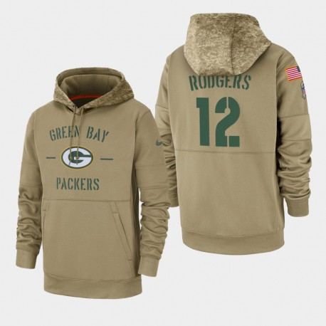 Männer Aaron Rodgers Green Bay Packers 2019 Salute to Service-Sideline Therma PulloverHoodie - Tan