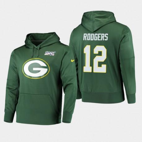 Männer Green Bay Packers und 12 Aaron Rodgers 100. Saison Primary Logo PulloverHoodie - Grün