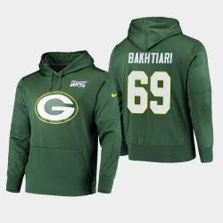Männer Green Bay Packers und 69 David Bakhtiari 100. Saison Primary Logo PulloverHoodie - Grün