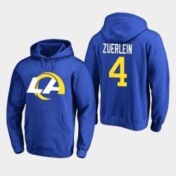 Männer Los Angeles Rams & 4 Greg Zuerlein 2020 Neues Logo PulloverHoodie - König