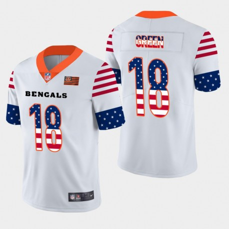 Männer Cincinnati Bengals und 18 A. J. Grüner Independence Day Americana Stars & Stripes Jersey - Weiß