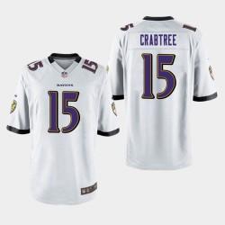 Männer Baltimore Ravens # 15 Michael Crabtree Spiel Trikot - Weiß