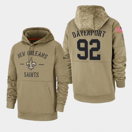 Männer New Orleans Saints & 92 Marcus Davenport 2019 Salute to Service-Side Therma Hoodie - Tan