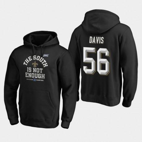 Männer New Orleans Saints & 56 Demario Davis 2019 NFC South Division Champion Abdeckung Zwei PulloverHoodie - Schwarz