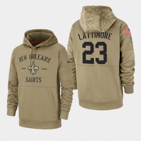 Männer New Orleans Saints & 23 Marshon Lattimore 2019 Salute to Service-Sideline Therma Hoodie - Tan