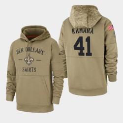 Männer New Orleans Saints # 41 Alvin Kamara 2019 Salute to Service-Sideline Therma Hoodie - Tan