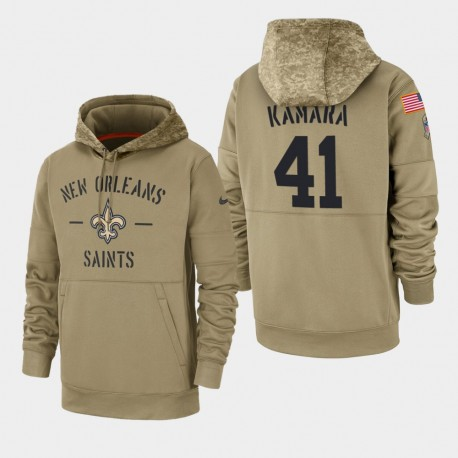 Männer New Orleans Saints & 41 Alvin Kamara 2019 Salute to Service-Sideline Therma Hoodie - Tan