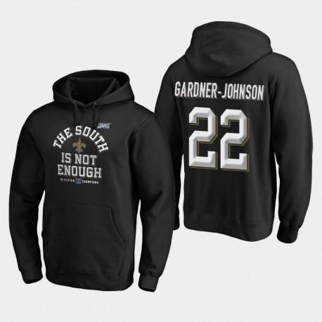 Männer New Orleans Saints & 22 Chauncey Gardner-Johnson 2019 NFC South Division Champion Abdeckung Zwei PulloverHoodie - Schwarz