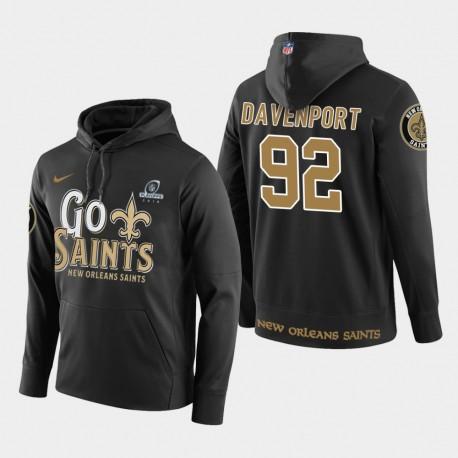 Männer New Orleans Saints & 92 Marcus Davenport 2018 NFL Playoffs PulloverHoodie - Schwarz