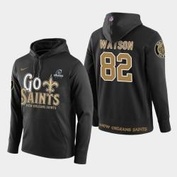 Männer New Orleans Saints # 82 Benjamin Watson 2018 NFL Playoffs PulloverHoodie - Schwarz