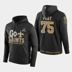 Männer New Orleans Saints # 75 Andrus Peat 2018 NFL Playoffs PulloverHoodie - Schwarz