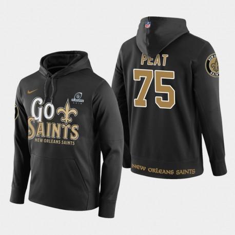 Männer New Orleans Saints & 75 Andrus Peat 2018 NFL Playoffs PulloverHoodie - Schwarz