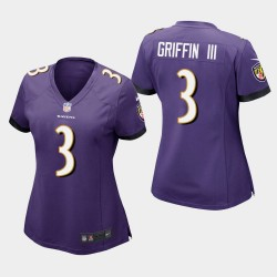 Frauen Baltimore Ravens # 3 Robert Griffin III Spiel Trikot - Purple