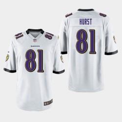 Männer Baltimore Ravens # 81 Hayden Hurst Spiel Trikot - Weiß