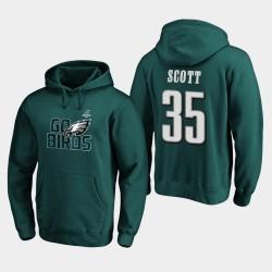 Männer Philadelphia Eagles Boston Scott 2019 NFL Playoffs Bound Heimatstadt Checkdown PulloverHoodie - Mitternachts Grün