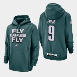 Männer Philadelphia Eagles und 9 Nick Foles Sideline Lockup PulloverHoodie - Grün