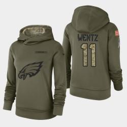 Frauen Philadelphia Eagles # 11 Carson Wentz 2018 Salute To Service Performance PulloverHoodie - Olive