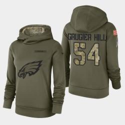 Frauen Philadelphia Eagles # 54 Kamu Grugier-Hill 2018 Salute To Service Performance PulloverHoodie - Olive