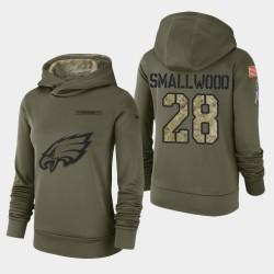 Frauen Philadelphia Eagles # 28 Wendell Smallwood 2018 Salute To Service Performance PulloverHoodie - Olive