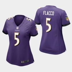 Frauen Baltimore Ravens # 5 Joe Flacco Spiel Trikot - Purple
