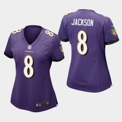 Frauen Baltimore Ravens # 8 Lamar Jackson Spiel Trikot - Purple