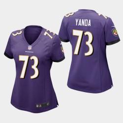 Frauen Baltimore Ravens # 73 Marshal Yanda Spiel Trikot - Purple