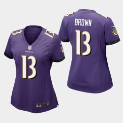 Frauen Baltimore Ravens # 13 John Brown Spiel Trikot - Purple