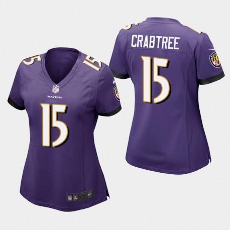 Frauen Baltimore Ravens & 15 Michael Crabtree Spiel Jersey - Purple