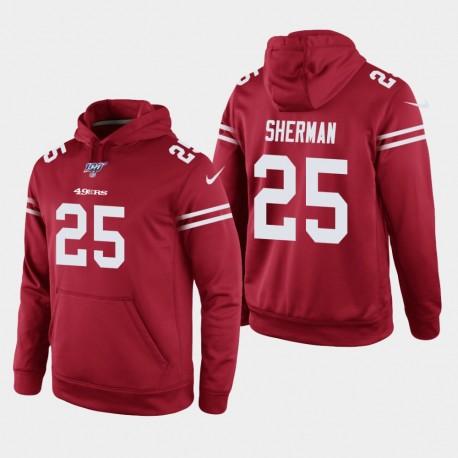 Männer San Francisco 49ers und 25 Richard Sherman 100. Season Spiel Hoodie - Scarlet