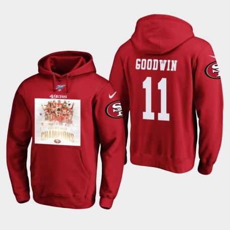 Männer San Francisco 49ers Marquise Goodwin 2019 NFC West Champions PulloverHoodie - Scarlet
