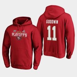 Männer San Francisco 49ers Marquise Goodwin 2019 NFL Playoffs Bound Chip Schuss PulloverHoodie - Scarlet