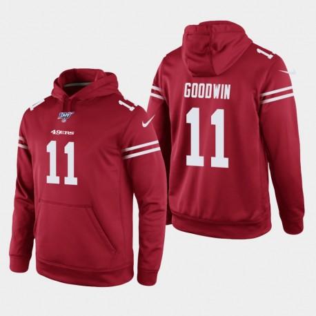 Männer San Francisco 49ers und 11 Marquise Goodwin 100. Season Spiel Hoodie - Scarlet