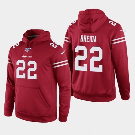 Männer San Francisco 49ers und 22 Matt Breida 100. Season Spiel Hoodie - Scarlet