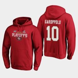 Männer San Francisco 49ers Jimmy Garoppolo 2019 NFL Playoffs Bound Chip Schuss PulloverHoodie - Scarlet