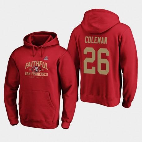 Männer San Francisco 49ers Tevin Coleman 2019 NFL Playoffs Heimatstadt Checkdown PulloverHoodie Bound - Scarlet