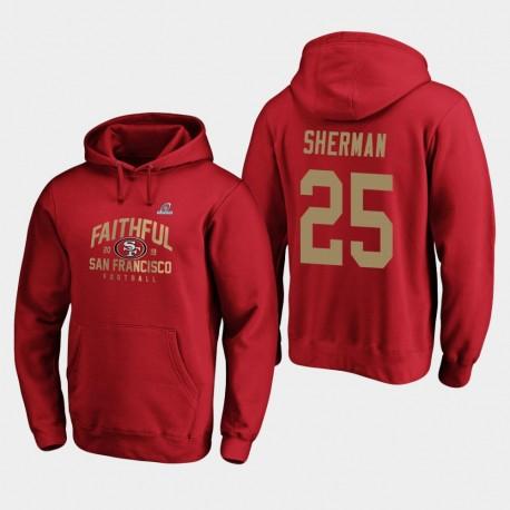 Männer San Francisco 49ers Richard Sherman 2019 NFL Playoffs Heimatstadt Checkdown PulloverHoodie Bound - Scarlet