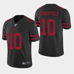 Männer San Francisco 49ers und 10 Jimmy Garoppolo 100. Saison Vapor Limited Jersey - Schwarz