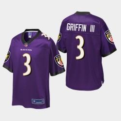 Jugend Baltimore Ravens # 3 Robert Griffin III Pro Line Trikot - Purple
