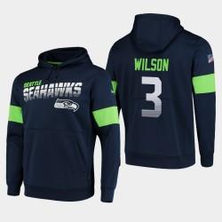 Männer Seattle Seahawks & 3 Russell Wilson 100. Saison Sideline-Team-Logo PulloverHoodie - Uni-Navy