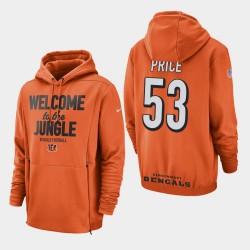 Männer Cincinnati Bengals # 53 Billy Preis Sideline Lockup PulloverHoodie - Orange