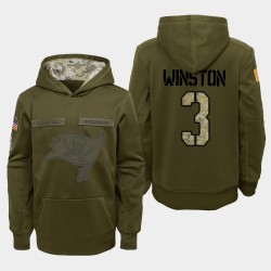 Jugend Tampa Bay Buccaneers # 3 Jameis Winston 2018 Salute To Service Performance PulloverHoodie - Olive