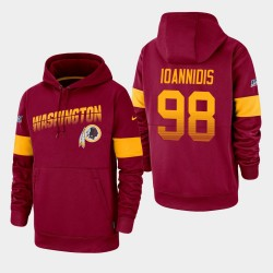 Männer Washington Redskins und 98 Matt Ioannidis 100. Saison Sideline-Team-Logo PulloverHoodie - Burgund