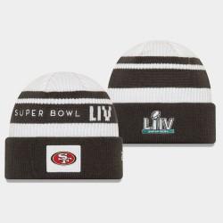 Männer New Era San Francisco 49ers Weiß Schwarz Super Bowl LIV Cuff Wollmütze