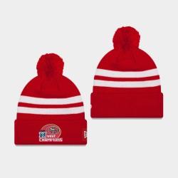 Männer San Francisco 49ers 2019 NFC West Division Champion Streifen Cuffed Pom Wollmütze - Scarlet