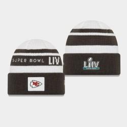 Männer New Era Kansas City Chiefs Weiß Schwarz Super Bowl LIV Cuffed Wollmütze